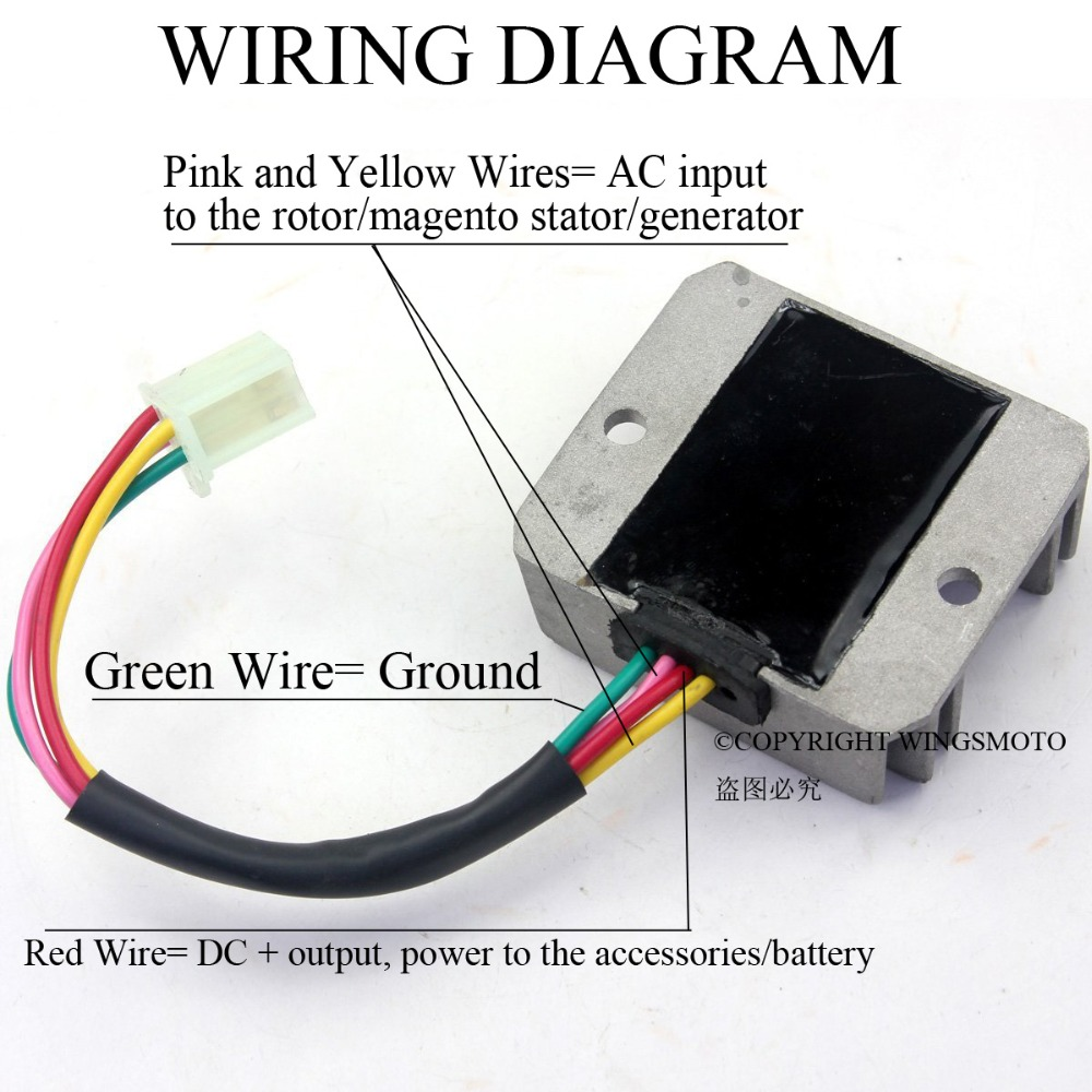 medium resolution of 4 wires voltage regulator rectifier motorcycle boat motor mercury atv gy6 50 150cc scooter moped jcl