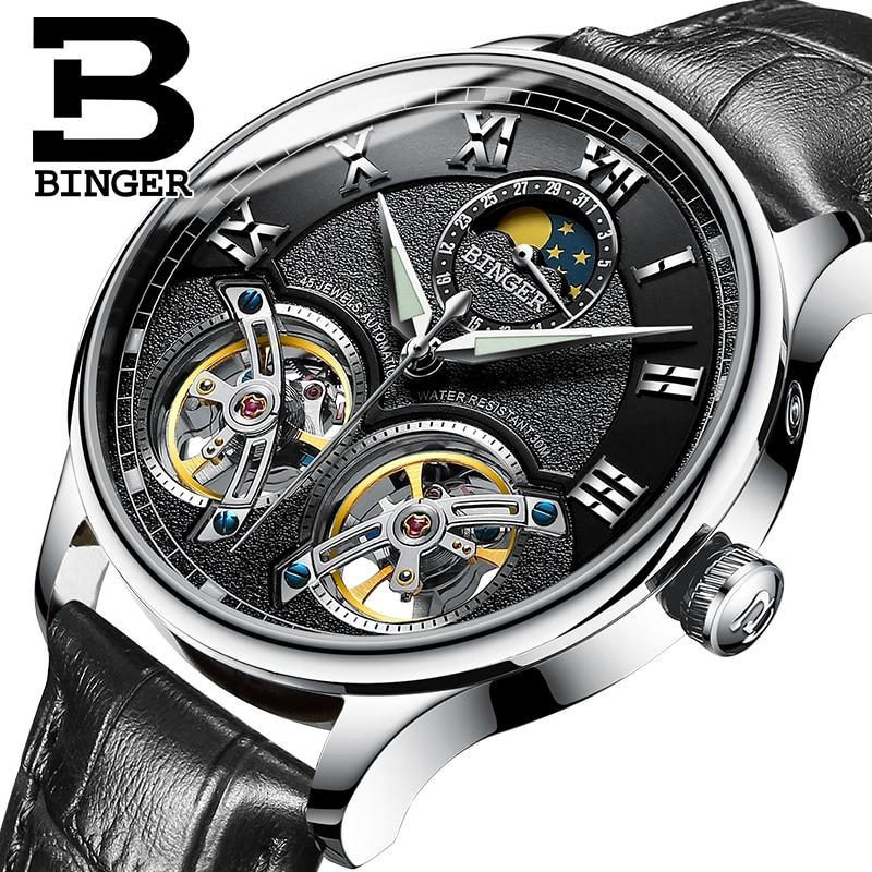 Double Tourbillon Switzerland Mens Watches BINGER Original Automatic Watch men Fashion Mechanical Wristwatch Leather clock reloj