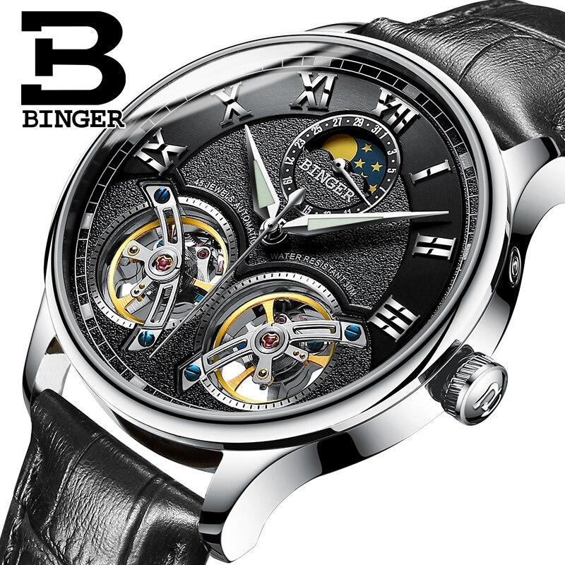 Double Tourbillon Suisse Mens Montres BINGER D'origine Montre Automatique hommes De Mode Mécanique Montre-Bracelet En Cuir horloge reloj