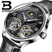 Double Tourbillon suisse hommes montres BINGER Original automatique montre hommes mode mécanique montre-bracelet en cuir horloge reloj
