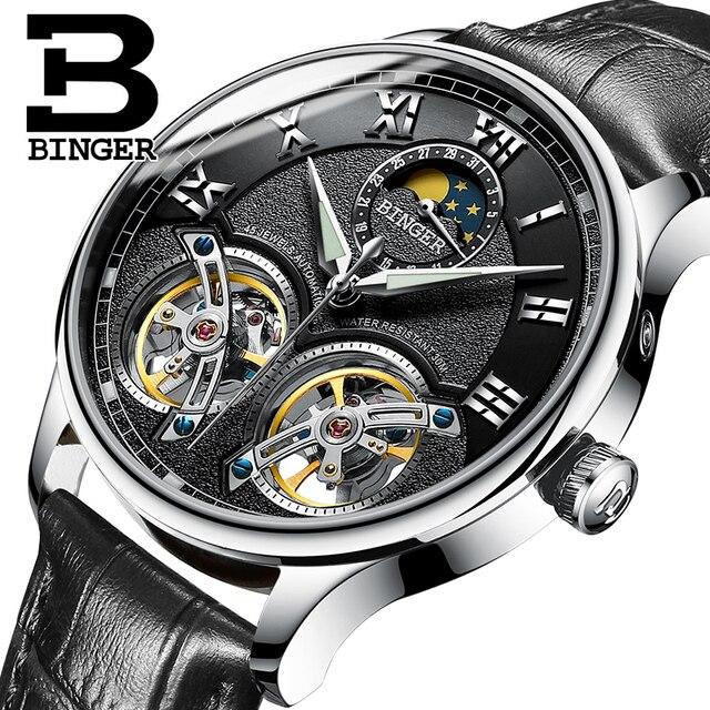 e5ab843683a Dupla Suíça Tourbillon Mens Relógios BINGER Originais homens Relógio  Automático de Moda relógio de Pulso Mecânico