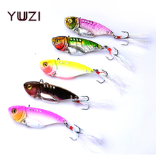 5pcs/set 11g 5.5cm Quick Sinking Metal VIB Crankbaits Spoon Sequin Fishing Lures Sequins Treble Hooks Vibration Lure