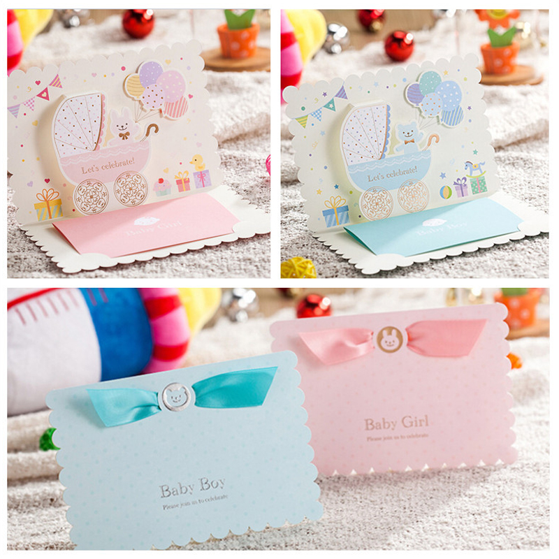 100pcs Pink Sky Blue Birthday Party Invitation Card Baby Shower Boy Girl 3D Carton Childrens Day Invitations For
