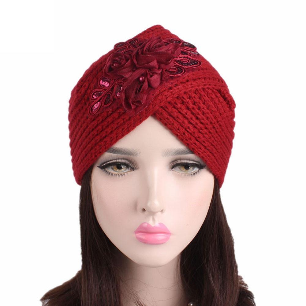 2018 Women Ladies Beanie Hat Retro Winter Knitting Hat Turban With ... 860b7ed8de65