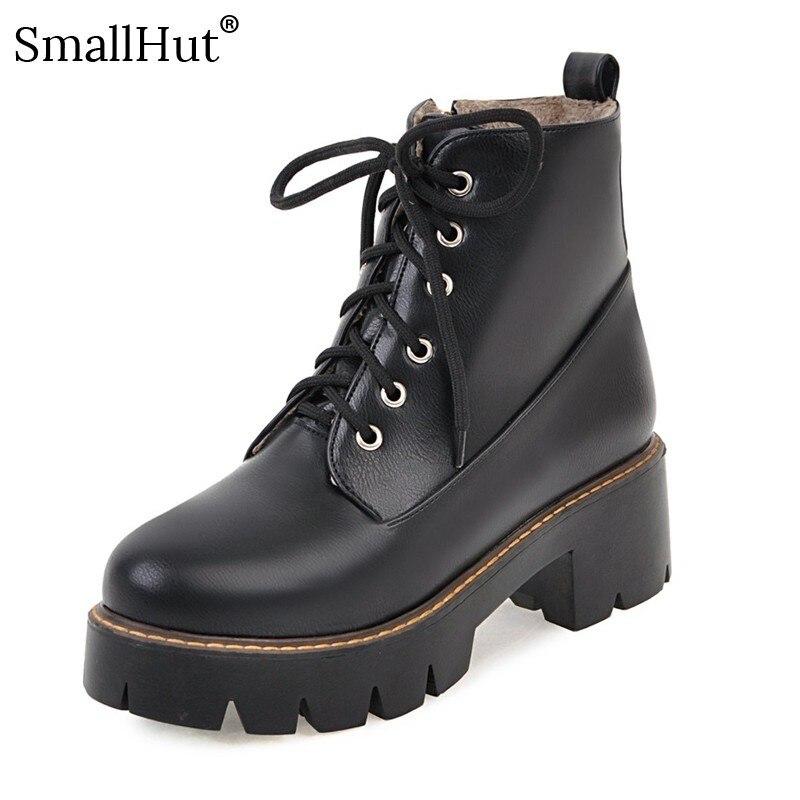 Botas de Salto baixo Mulheres Outono Inverno 2019 Senhoras Sólidos Saltos Quadrados E126 Moda Mulher Negra Marrom Escuro Vinho Tinto Rodada botas dedo do pé