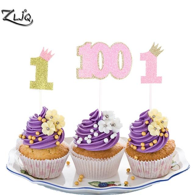 ZLJQ 5pcs Glitter Pink Gold Cute Number 1 Sparkly Cupcake Topper