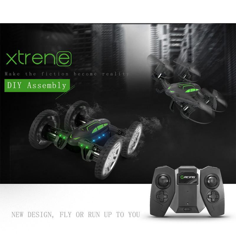 RC Quadcopter Drone & Car 2 In 1 DIY Assemble Racing Car