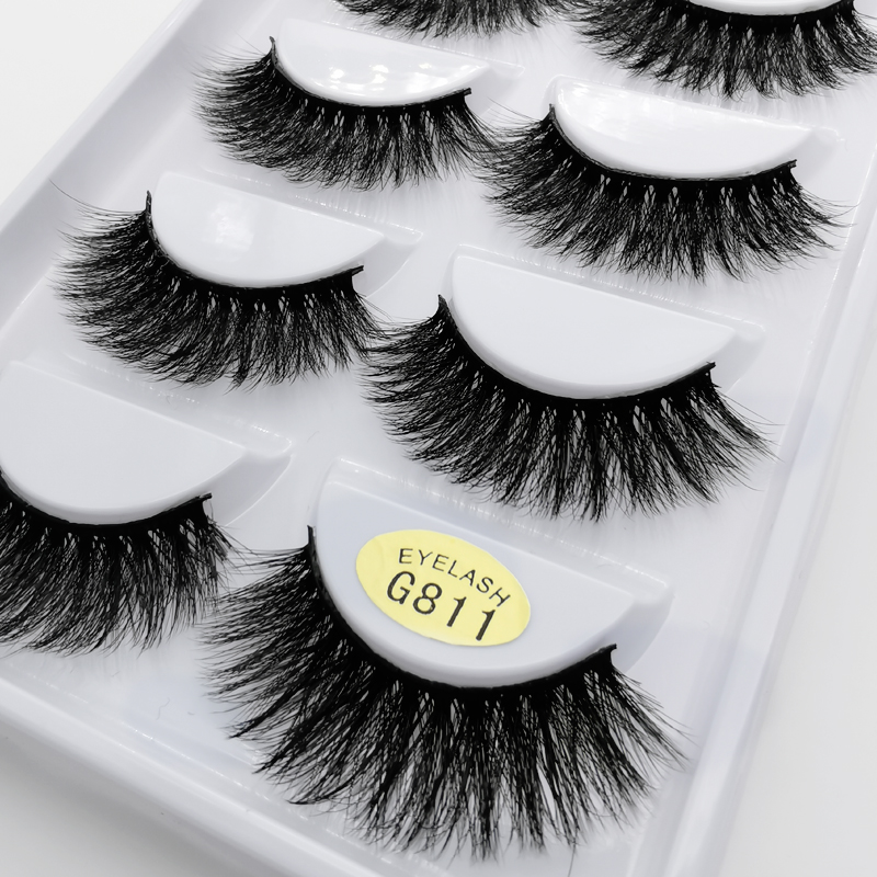 5pairs/box  Natural False Eyelashes Fake Lashes Long Makeup 3d Mink Lashes Eyelash Extension Mink Eyelashes For Beauty