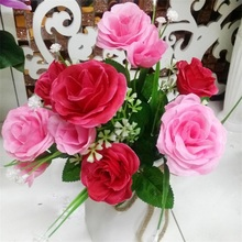 11 Heads a Bunch Rose Artificial Flowers Bouquet Home Decoration Silk Flower Branches Family Table Wall Background Decorations