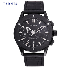 New 43mm Parnis Watch Pvd Case Black Dial with Silver Mark Mechanical Automatic Men Wristwatch