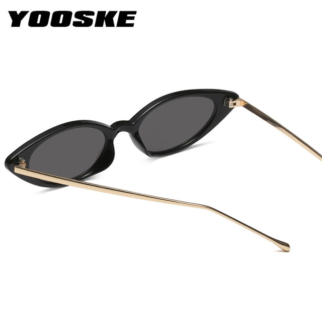 YOOSKE Women Small Cat Eye Sunglasses Classic brand Designer Oval Metal Frame Sun Glasses For Female Male Shades