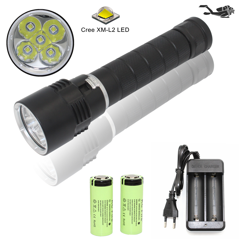 Waterproof Diving Flashlight Scuba Light Dive Torch 5x Cree XM-L2 LED Underwater Flashlight lanterna + 26650 Battery + Charger led diving flashlight torch 100m underwater light diver light 5 x cree xml l2 8000 lumens scuba lanterna with 18650 battery