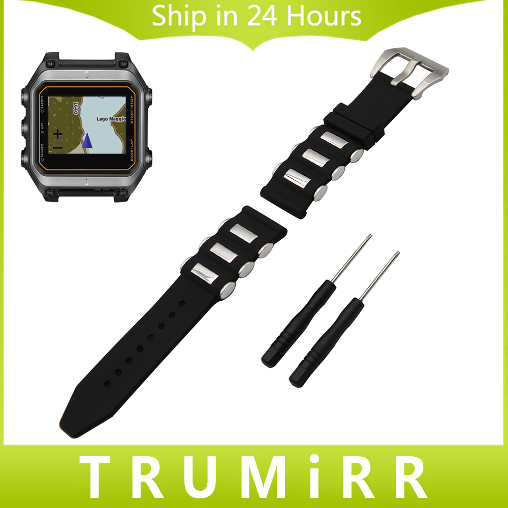 22mm 24mm Silicone Rubber Watchband +Tool for Garmin Fenix 5 Epix Vivoactive HR Watch Band Wrist Strap 316L Steel Clasp Bracelet 22mm width nylon strap for garmin fenix 5 band outdoor sport watchband with quick fit for garmin fenix 5 replace wrist band