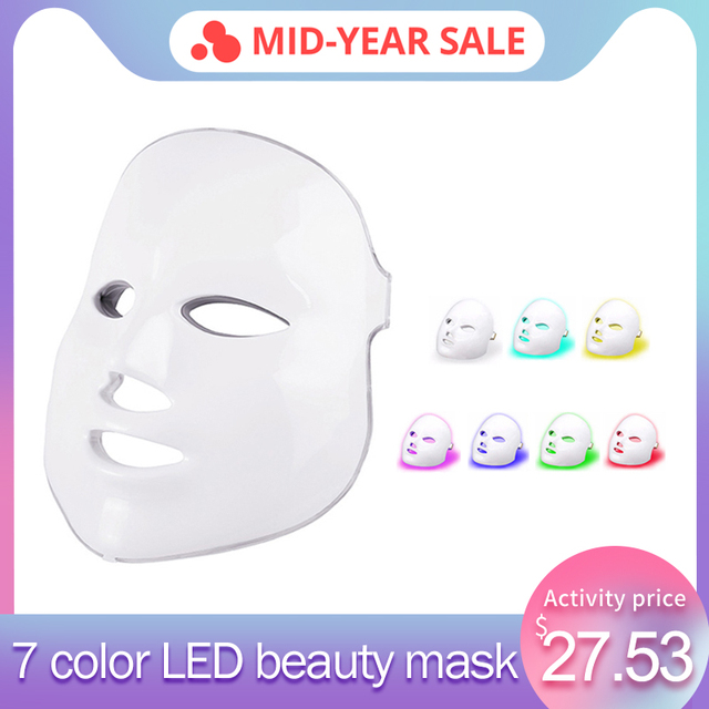 2019 Upgraded 7 Colors Light Photon LED Facial Mask Skin PDT Skin Rejuvenation Anti Acne Wrinkle Removal Therapy Beauty Salon