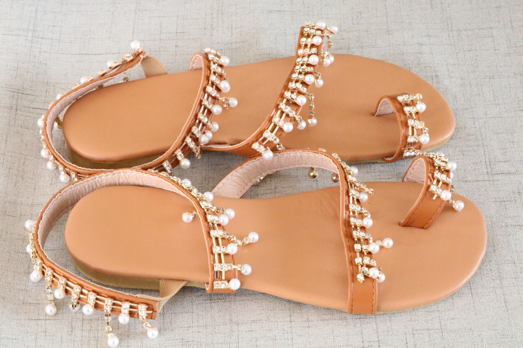 HTB1pgEWaN2rK1RkSnhJq6ykdpXaz Women sandals summer shoes flat pearl sandals comfortable string bead slippers women casual sandals size 34 43