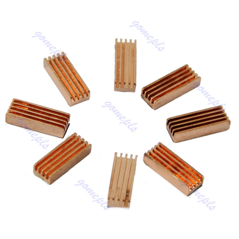 8pcs/lot 22x8x5mm Memory Cooler RAM Heatsink Pure Copper Radiator Heat Sink For PC Computer DDR DDR2 Memory RAM 10pcs lot ultra small gvoove pure copper pure for ram memory ic chip heat sink 7 7 4mm electronic radiator 3m468mp thermal