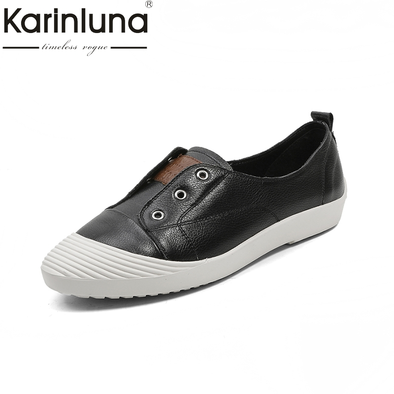 KarinLuna new 2018 black white brand design women shoes flats spring leisure genuine leather flat with slip on flats shoes woman new 2017 spring summer women flats shoes genuine leather flat heel pointed toe black red shoes woman slip on casual flat shoes