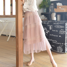 1a73283231 2019 Sweet Kawaii Skirts Womens High Waist Summer Long Pleated Mesh Skirt  Plus Size harajuku korean Pink Midi Skirt jupe femme