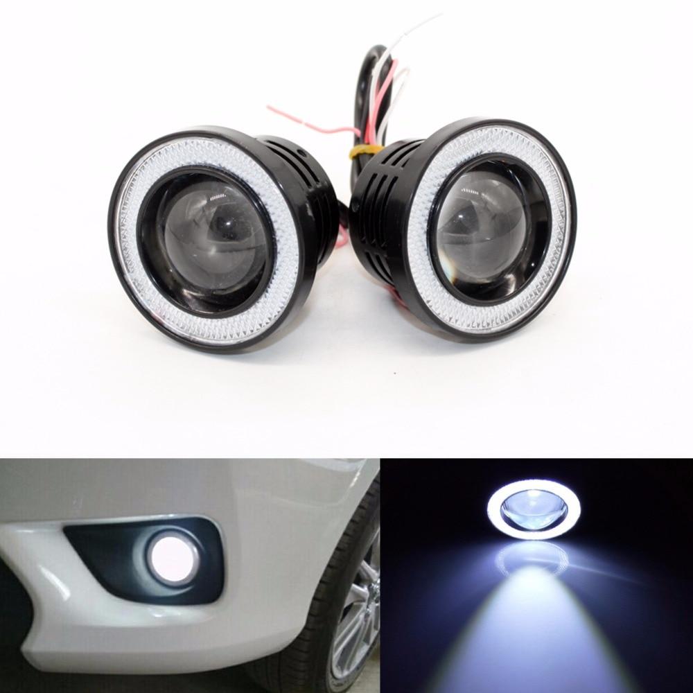 3-дюймовый 76 мм автомобиль Универсальный cob светодиодный глаза Ангела туман Лампа W/ объектив авто DRL вождения дневного света фара Белый