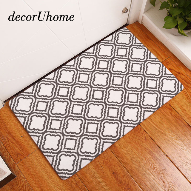 DecorUhome Flannel Waterproof Anti Slip Floor Mat Nordic Geometric Carpets  Bedroom Rugs Decorative Stair Mats