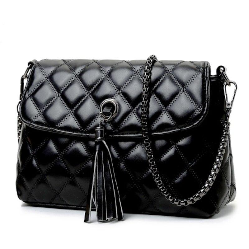 Noir mode femmes gland chaîne Messenger sac couverture sac à bandoulière pour femmes filles petit sac à bandoulière petite sac bolsa feminina