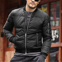 2016 Winter Mens Solid Flight Black Bomber Cotton Jacket Men S Rib Sleeve Zipper Short Air