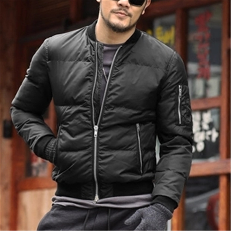 2017 Brand winter warm Jacket men Solid Flight <font><b>Black</b></font> <font><b>Bomber</b></font> jacket casual motorcycle thick coat male cotton padded outerwear