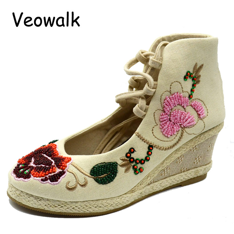 Veowalk Beaded Flower Embroidered Women Gladiator Lace up Canvas Pumps High Top Med Heels Wedges Platform