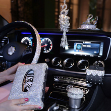 Bling Crystal Ornament Car Pendant Women Girl Rhinestone Ashtray Phone Holder Steering Wheel Cover Diamond Tissue Box in