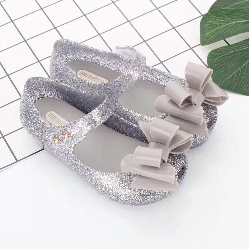Mini Melissa Three Big Bow Jelly Shoes Bow Flat Sandals Plastic Sandals Girls Sandals Sapato Infantil