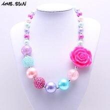 MSH.SUN-collar de perlas de colores para niños, Gargantilla gruesa de goma de mascar con flores, joyería para fiesta