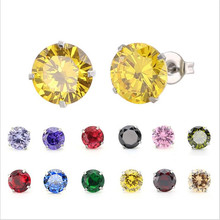 PE86 Titanium Zircon Stud Earrings 8MM Round Colorful Crystal Earring Stainless Steel Jewelry