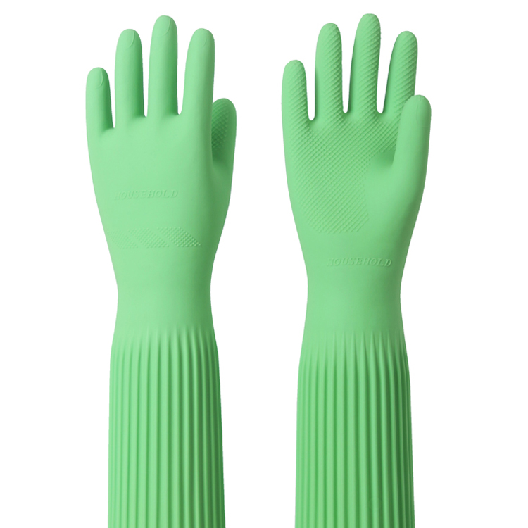 Купить с кэшбэком 100% natural latex protecting gloves Super length size 58cm Color green vegetable washing and household cleaning working gloves