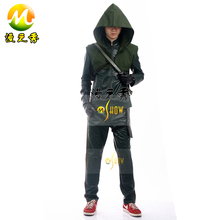Green Arrow Season 3 Oliver Queen Cosplay Costume Hoodie Jacket Pu Leather Outfit Full Set for