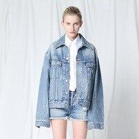 vintage oversize long sleeve denim jacket women