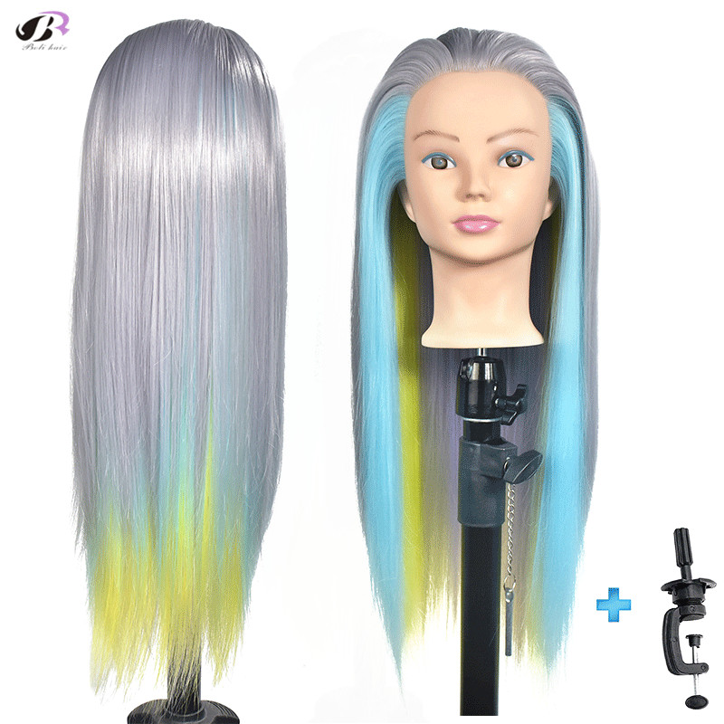 New Colorful Braiding Training Head Mannequin Hairdressing Synthetic Hair Dummy Doll Manikin Heads For Hairstyles with clamp