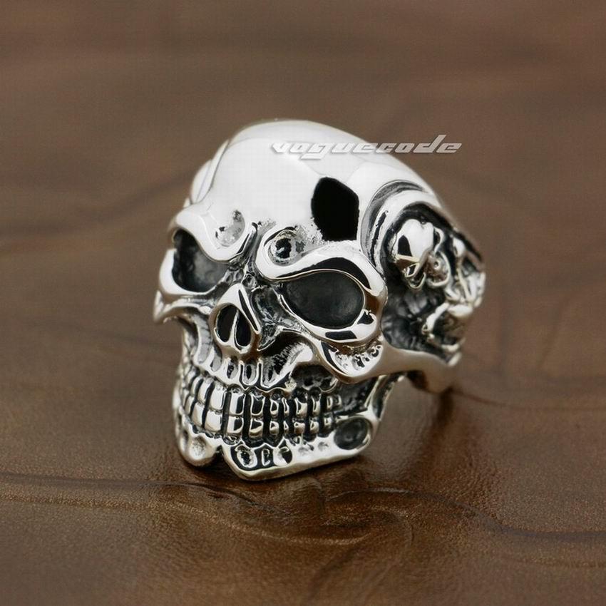 LINSION Huge Heavy 925 Sterling Silver Titan Skull Skeleton Mens Boys Biker Rock Punk Ring sterling