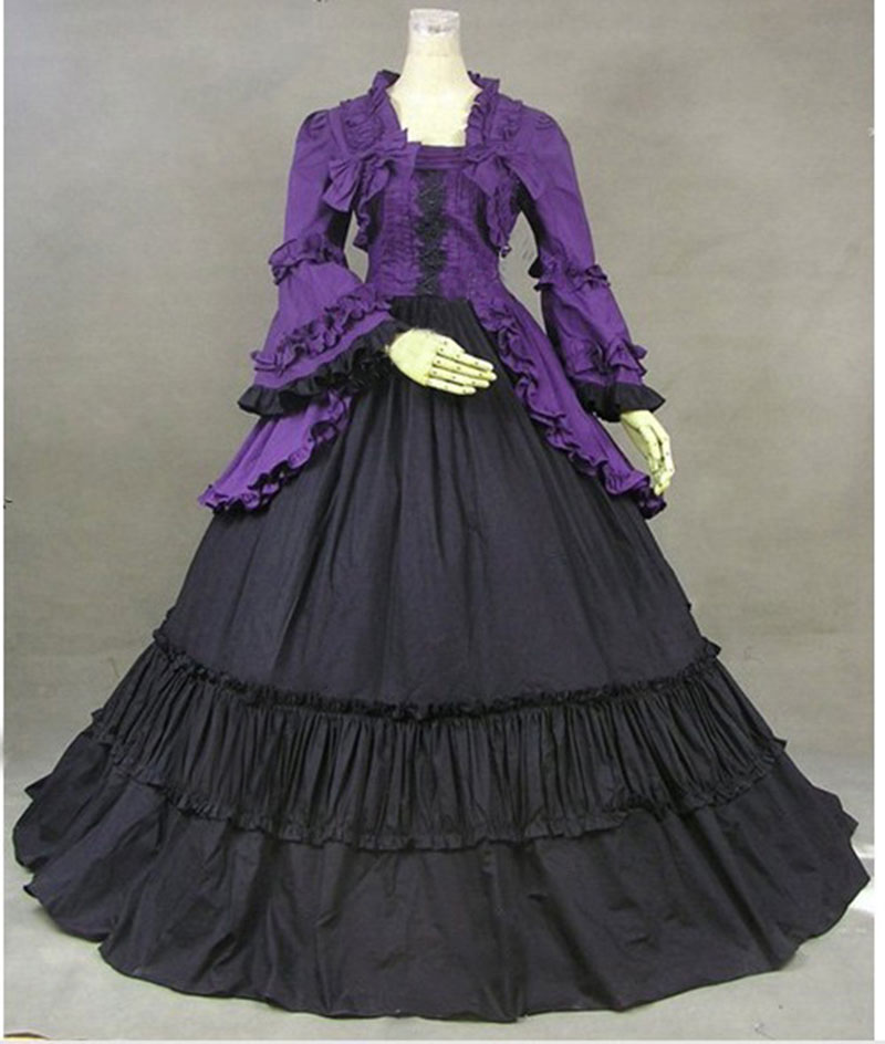 Classic Purple and Black Gothic Victorian Party Dress Costume 18th Century Lace Ruffles Bow Stage Show Period Dress Ball Gowns