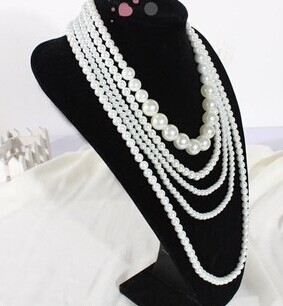 2019 New Design Wholesale 5-rope Pearl Necklace,hot Fine Quality Fashion White Beads Pearl Necklace,Sweater Necklace Women
