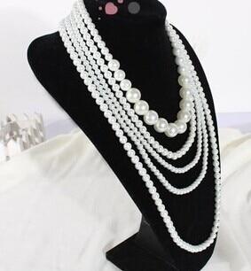 2019 uusi design tukku 5-köyden helmi kaulakoru, kuuma hieno muoti valkoinen helmiä helmi kaulakoru, villapaita kaulakoru naiset