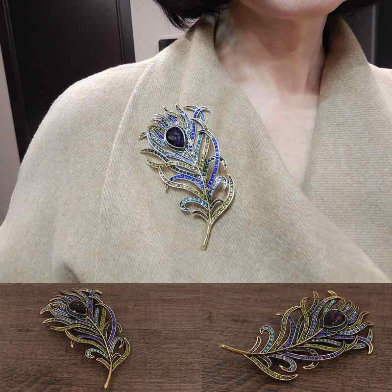 2018 New Arrival Large Women Vintage Feather Bronze Brooch Pin Antique Gold Crystal Rhinestone Metal Jewelry Accessory