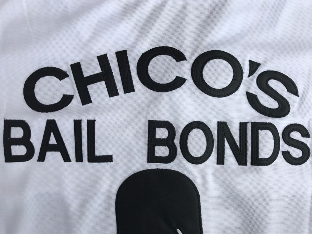 c32122d11dd ... 12 Tanner Boyle Bad News Bears Movie 1976 Chico's Bail Bonds WHITE Men  Baseball Jersey 3 ...