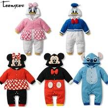 Для маленьких девочек одежда с длинными рукавами на весну комбинезон, с мультяшным изображением, Мышь с рисунком утки Одежда для маленьких мальчиков; костюм с капюшоном из хлопка для новорожденных Забавный наряд