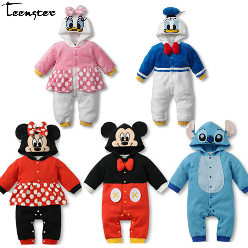 Baby Girl Clothes Spring Long Sleeve   Rompers   Cartoon Mouse Duck Printed Infant Boy Hooded Costume Cotton Newborn Funny Outfit