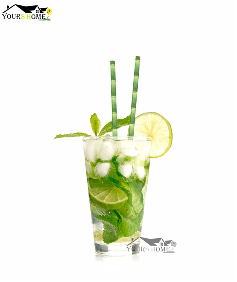 100pcs lot Green Bamboo Paper Drinking Straws Drinking Tubes Party Supplies Decoration Cocktail Drink Accessories in Drinking Straws from Home Garden