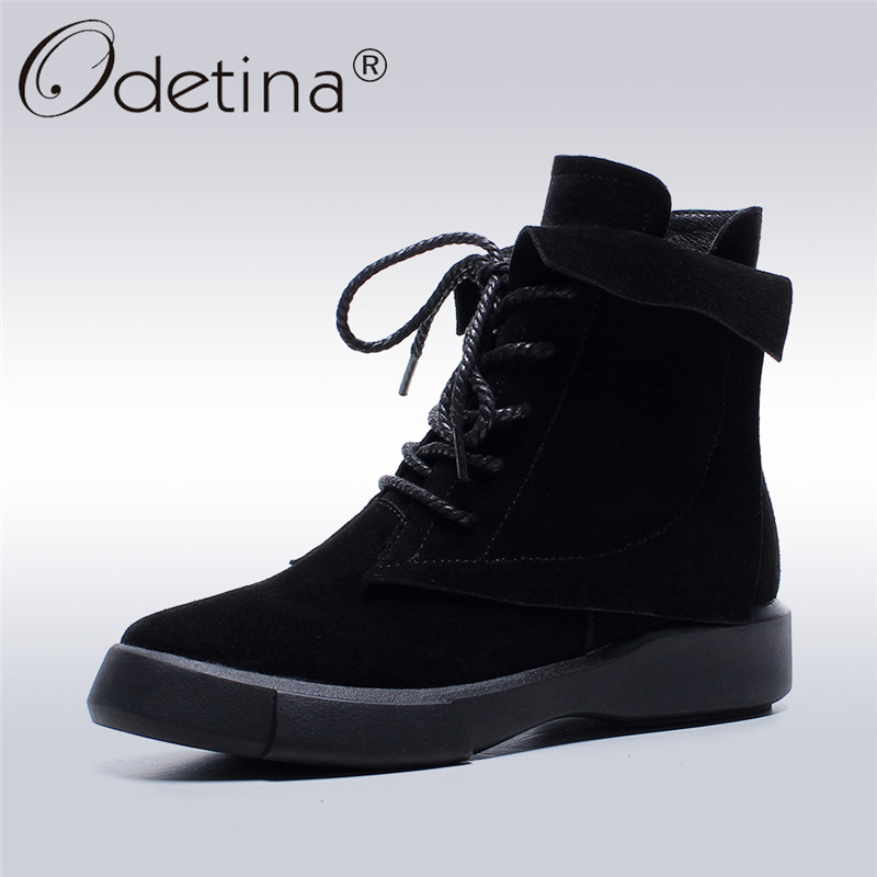 Odetina 2017 New Fashion Genuine Leather Women Platform Flat Ankle Boots Lace Up Casual Booties Autumn Winter Shoes Big Size 43 fall flat black waterproof 2017 women shoes retro front lace up casual ankle boots autumn patent leather chunky booties vintage