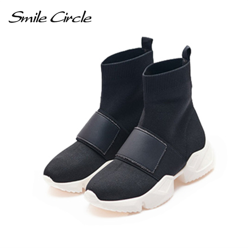 Smile Circle Women wedges platform Shoes High-top knitting Thick bottom Mesh Flat casual chunky Sneakers Ladies sock boots 2018 smile circle flat platform sneakers women fashion thick bottom lace up mixed colors casual chunky shoes autumn ladies sneakers