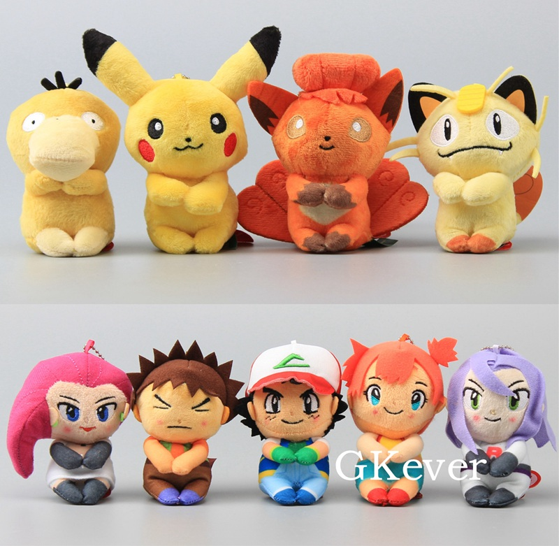 9 Pcs Set Mini Pikachu Psyduck Vulipix Lovely Meowth Cool Ash Ketchum Brock Plush Pendant Keychain