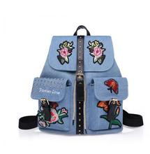 Для женщин Вышивка холст рюкзак подросток школьница цветочный Сумки Дамская мода карман рюкзаки женские черные Дорожные сумки
