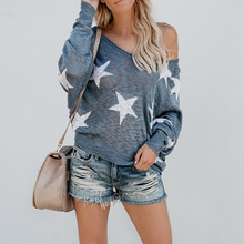 Cotton Women star Sweaters 2019 New Fashion Autumn Ladies Star Pattern Top Sweater Loose Knitted Casual Pullover Outwear